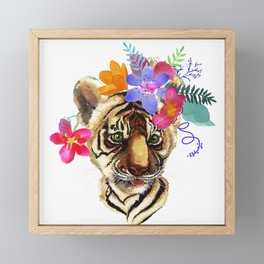 Tiger Cub with Flowers Framed Mini Art Print
