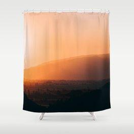 Sepia Orange Sunset Mountain Hills Landscape Photo Shower Curtain