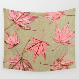 Japanese maple leaves - pink on natural unbleached paper Wall Tapestry