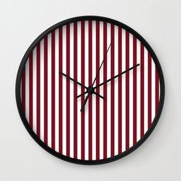 Deep Red Pear and White Thin Vertical Deck Chair Stripe Wall Clock