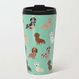 Dachshund dog breed pet pattern doxie coats dapple merle red black and tan Travel Mug