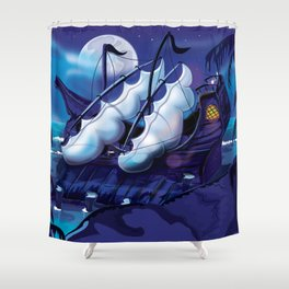 Old Pirate Ship in Dock at night Shower Curtain