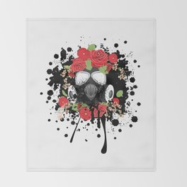 Gas Mask with Red Roses Throw Blanket