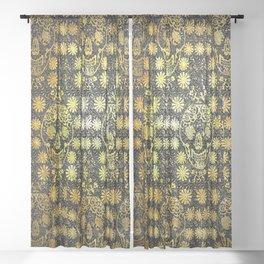 Gold Tiled Sugar Skulls Sheer Curtain