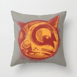 Red cat Rocka Rolla Throw Pillow