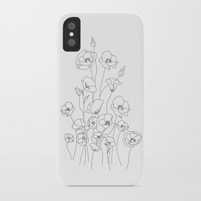 poppy flowers line art iphone case