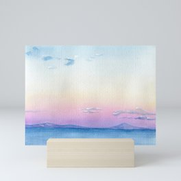 Blue sea watercolor Abstract painting seascape landscape wave art sky pink cloud sunset sunrise Mini Art Print