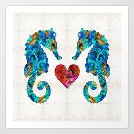 Sea Lovers - Seahorse Beach Art by Sharon Cummings Art Print