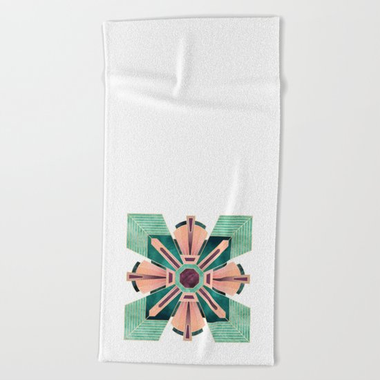 Art Deco Flower 1 Beach Towel