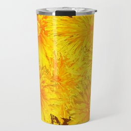 ABSTRACTED COFFEE BROWN   FIRST SPRING YELLOW DANDELIONS Travel Mug