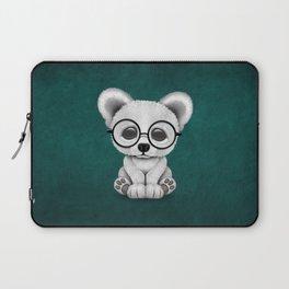 Cute Polar Bear Cub with Eye Glasses on Teal Blue Laptop Sleeve