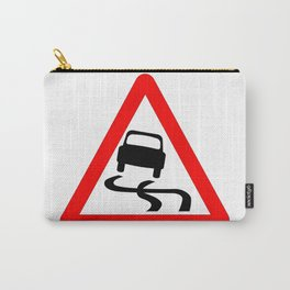 Danger SkiddingTraffic Sign Isolated Carry-All Pouch