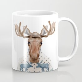 M is for a Moose in a Marvelous Moose Sweater | Watercolor Moose Coffee Mug