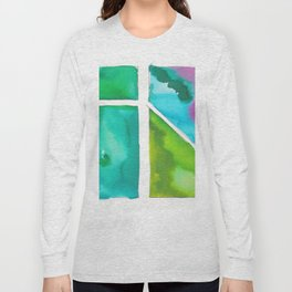 180811 Watercolor Block Swatches 9   Colorful Abstract  Geometrical Art Long Sleeve T-shirt