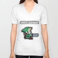 gaming V-neck T-shirts featuring JUST GAMING by Edgar