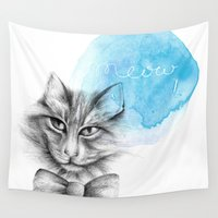 meow Wall Tapestries featuring meow by Konstantina Louka