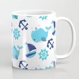 Whale Pattern, Sailor Whales, Sailor Boats - Blue Coffee Mug