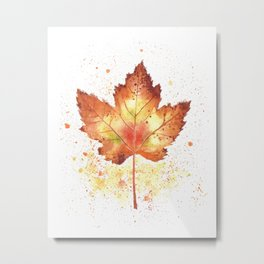 Yellow Orange Brown Watercolor Maple Leaf Metal Print