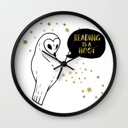 Reading is a Hoot - Gold Wall Clock