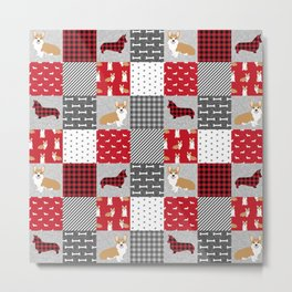 Corgi Patchwork Print - red, dog, buffalo plaid, plaid, mens corgi dog Metal Print
