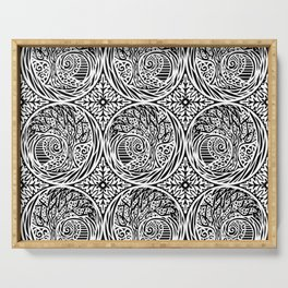Tree motif in black in white Serving Tray