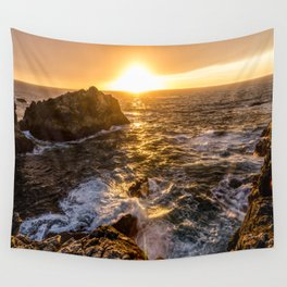 In Waves - Waves Crashing Into Rocks at Sunset In Big Sur Wall Tapestry