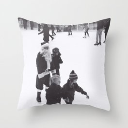 Skating Santa Throw Pillow