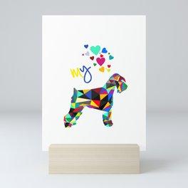 I love my schnauzer (not cropped ears) white Mini Art Print