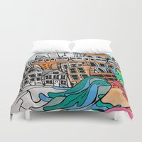 community Duvet Covers featuring Community by sam kirk