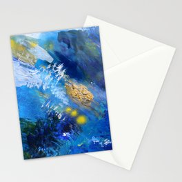Abstract Textured Seascape Painting Stationery Cards