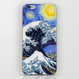 "Hokusai,""The Great Wave off Kanagawa"" + van Gogh,""Starry night"" iPhone Skin"