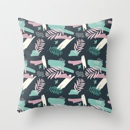 Abstract blue pink white teal brushstrokes floral Throw Pillow