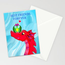 Best friends forever, Dragons, Doryu the scared little dragon original artwork by author and illustrator Katy Christoff Stationery Cards