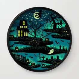 Halloween Night - Fox Fire Green Wall Clock