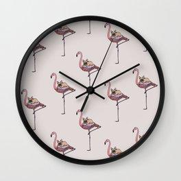 Flamingo and French Bulldog Wall Clock