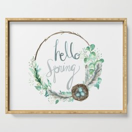 Hello Spring Eucalyptus Wreath with Nest Serving Tray