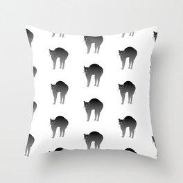 Pattern funny black cat Throw Pillow