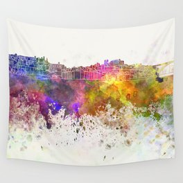 Porto skyline in watercolor background Wall Tapestry