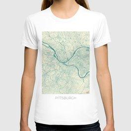 Pittsburgh Map Blue Vintage T-shirt