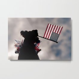 Silhouette dog holding American flag Metal Print