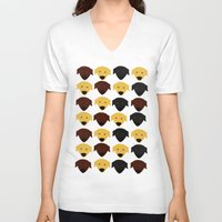 labrador V-neck T-shirts featuring Labrador dog pattern by Verene Krydsby