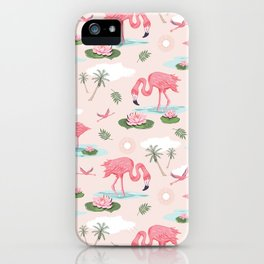 Flamingos and waterlilies iPhone Case