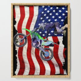 High Flying Freestyle Motocross Rider & US Flag Serving Tray