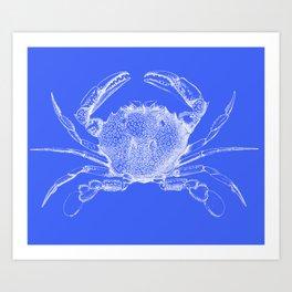 Crab - white on blue Art Print