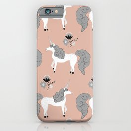 Modern Mare Party - Grey & Pink iPhone Case