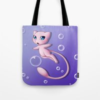 mew Tote Bags featuring Mew Bubbles by AngelAito