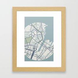 Boston Map 2 Framed Art Print