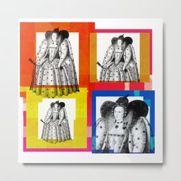 QUEEN ELIZABETH THE FIRST, 4-UP POP ART COLLAGE Metal Print