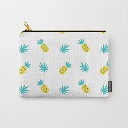 Summer sunshine yellow teal pineapple tropical leaves pattern Carry-All Pouch