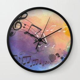 Colorful Splash Music Background Wall Clock